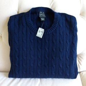 JOS. A. BANK Sweater Large Navy Cable Knit Cotton